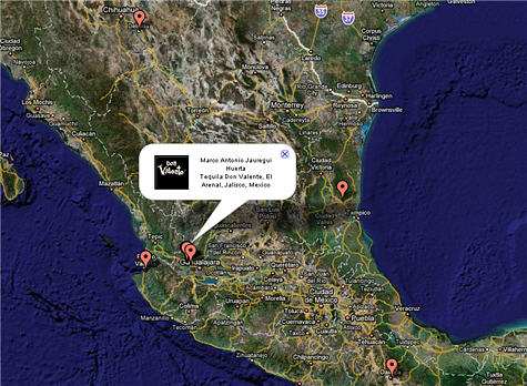 Map of Mexico Distilleries